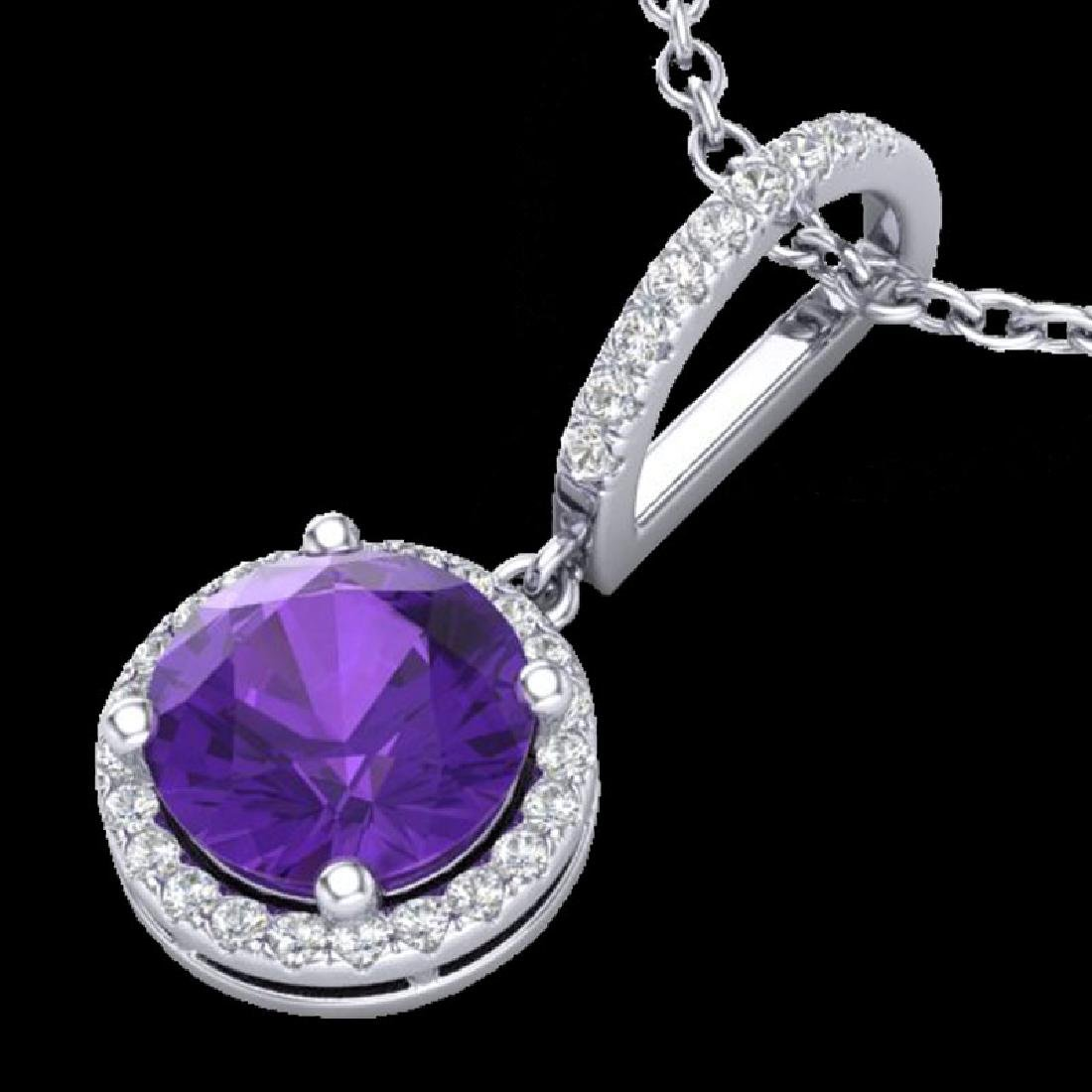 2 CTW Amethyst & Micro Pave VS/SI Diamond Necklace