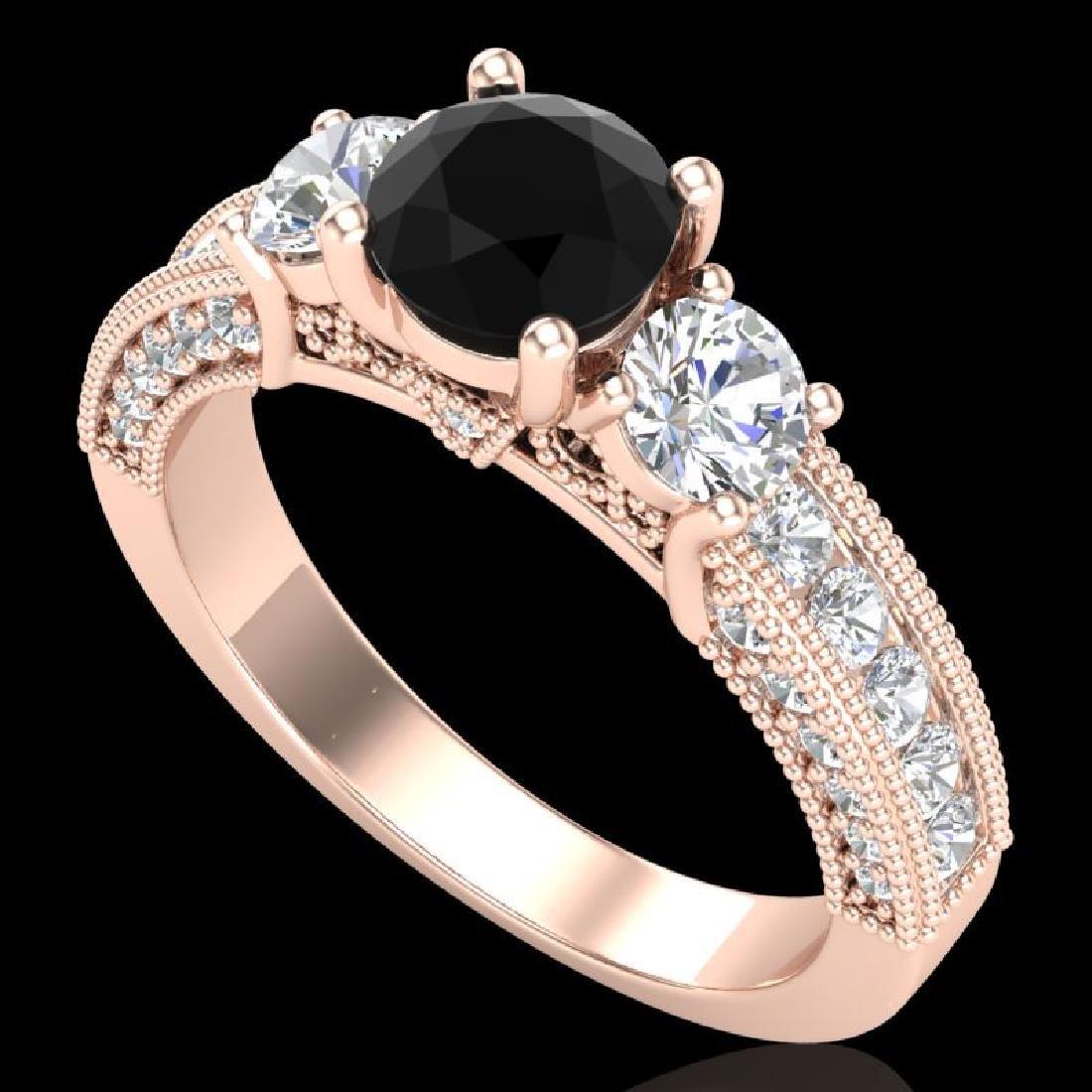 2.07 CTW Fancy Black Diamond Solitaire Art Deco 3 Stone
