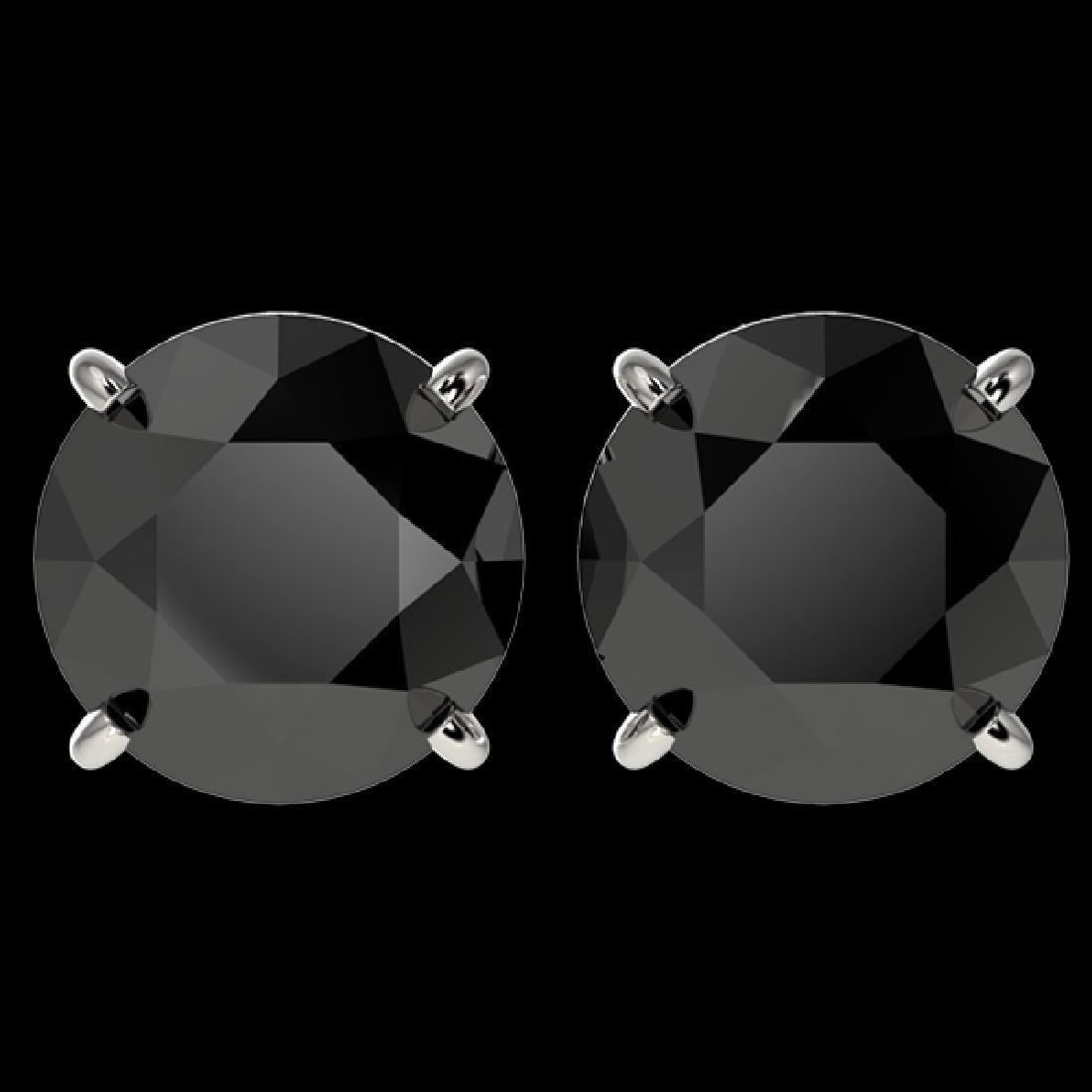 4 CTW Fancy Black VS Diamond Solitaire Stud Earrings