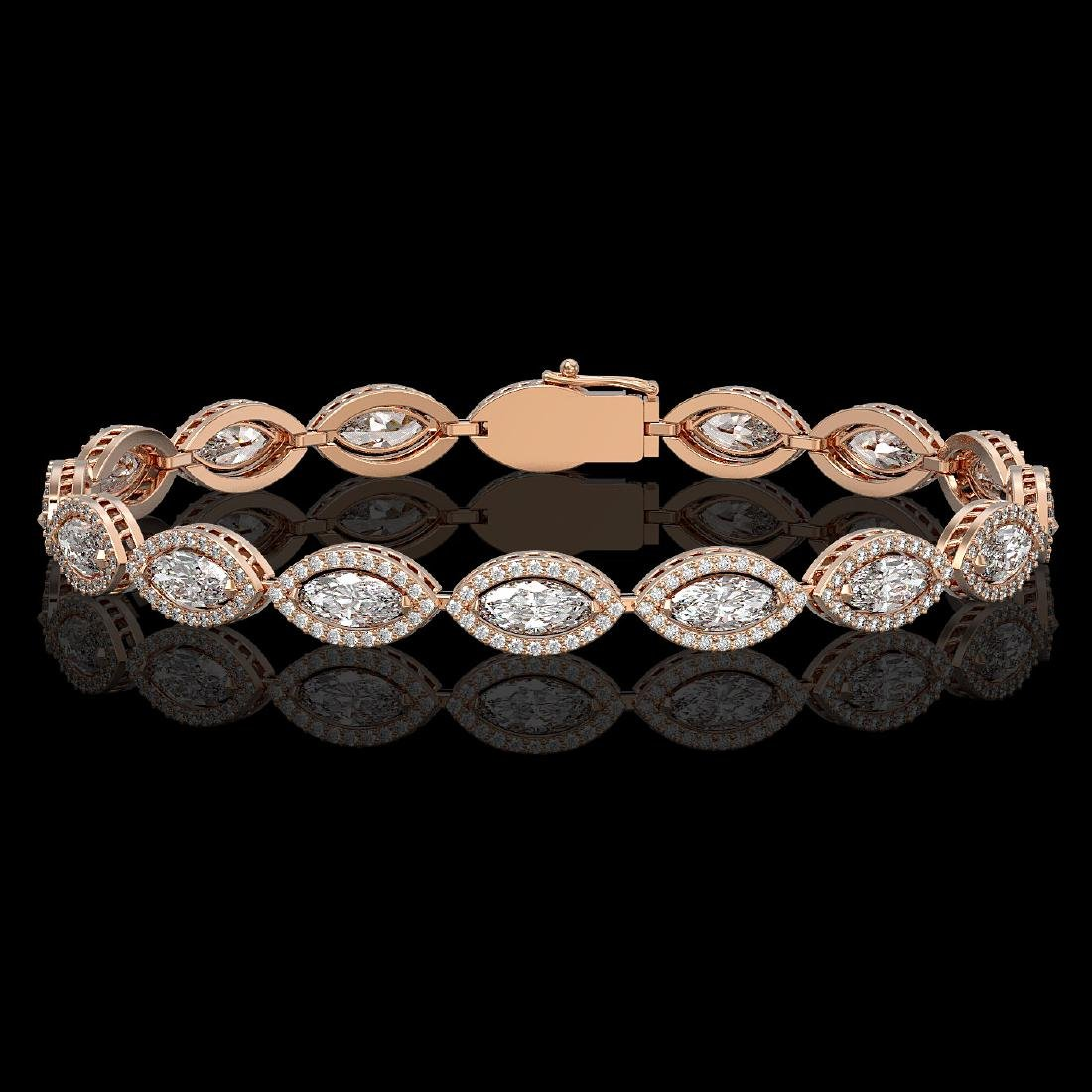 10.61 CTW Marquise Diamond Designer Bracelet 18K Rose