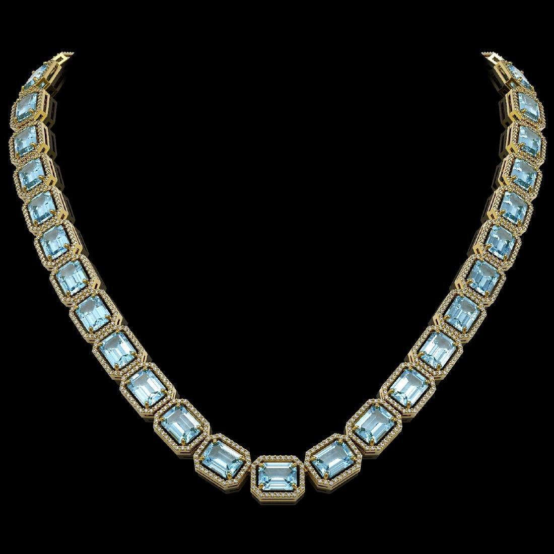 80.98 CTW Aquamarine & Diamond Halo Necklace 10K Yellow
