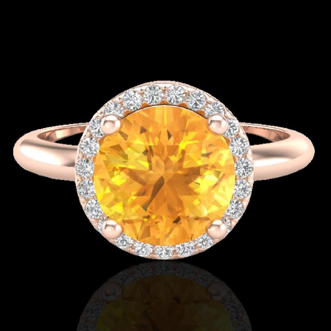 2 CTW Citrine & Micro VS/SI Diamond Ring Designer Halo