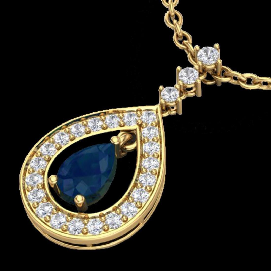 1.15 CTW Sapphire & Micro Pave VS/SI Diamond Necklace