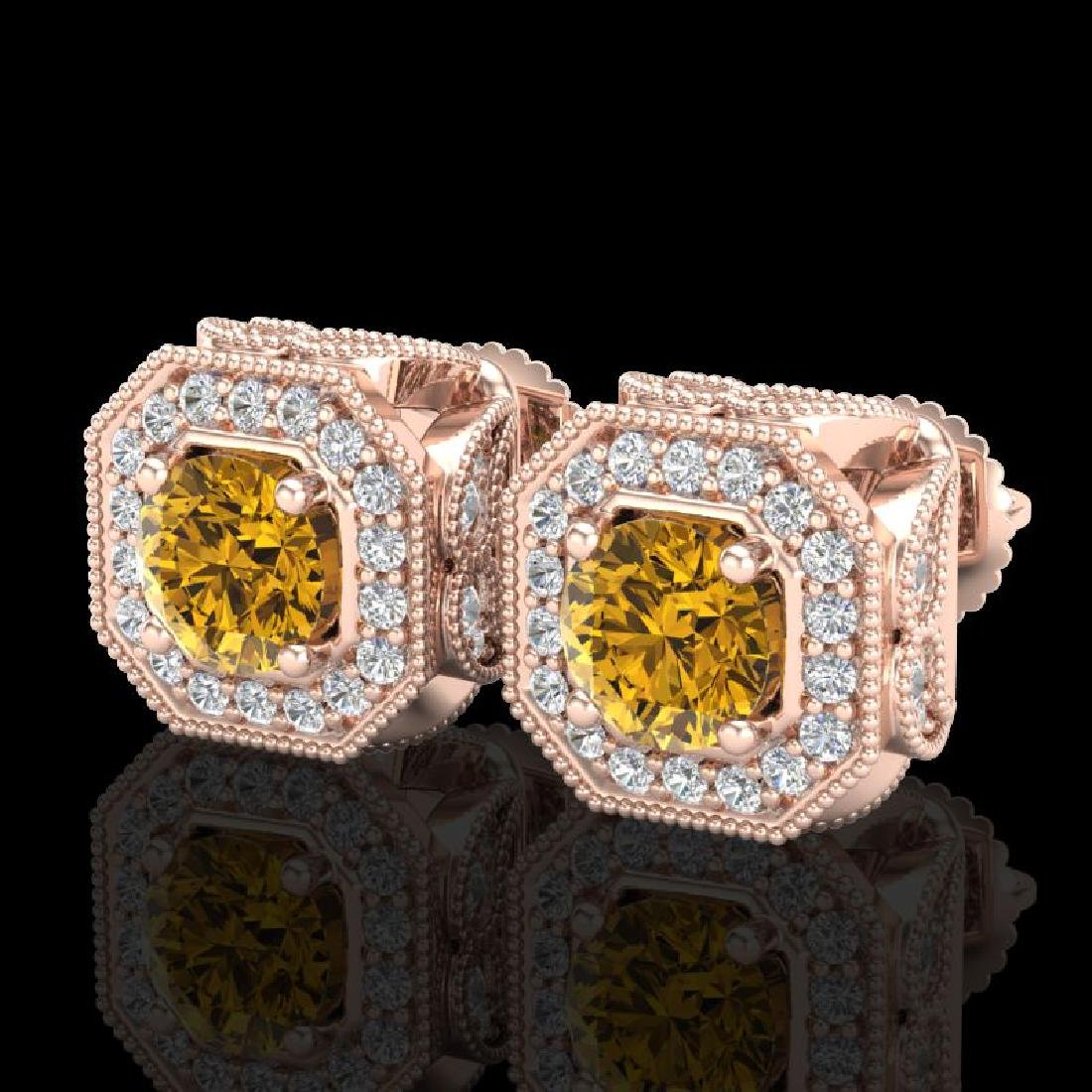 2.75 CTW Intense Fancy Yellow Diamond Art Deco Stud