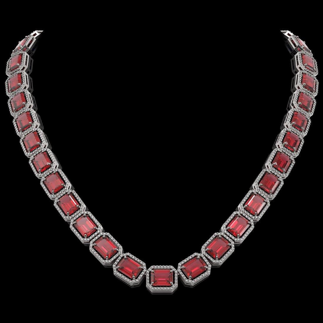 80.32 CTW Tourmaline & Diamond Halo Necklace 10K White