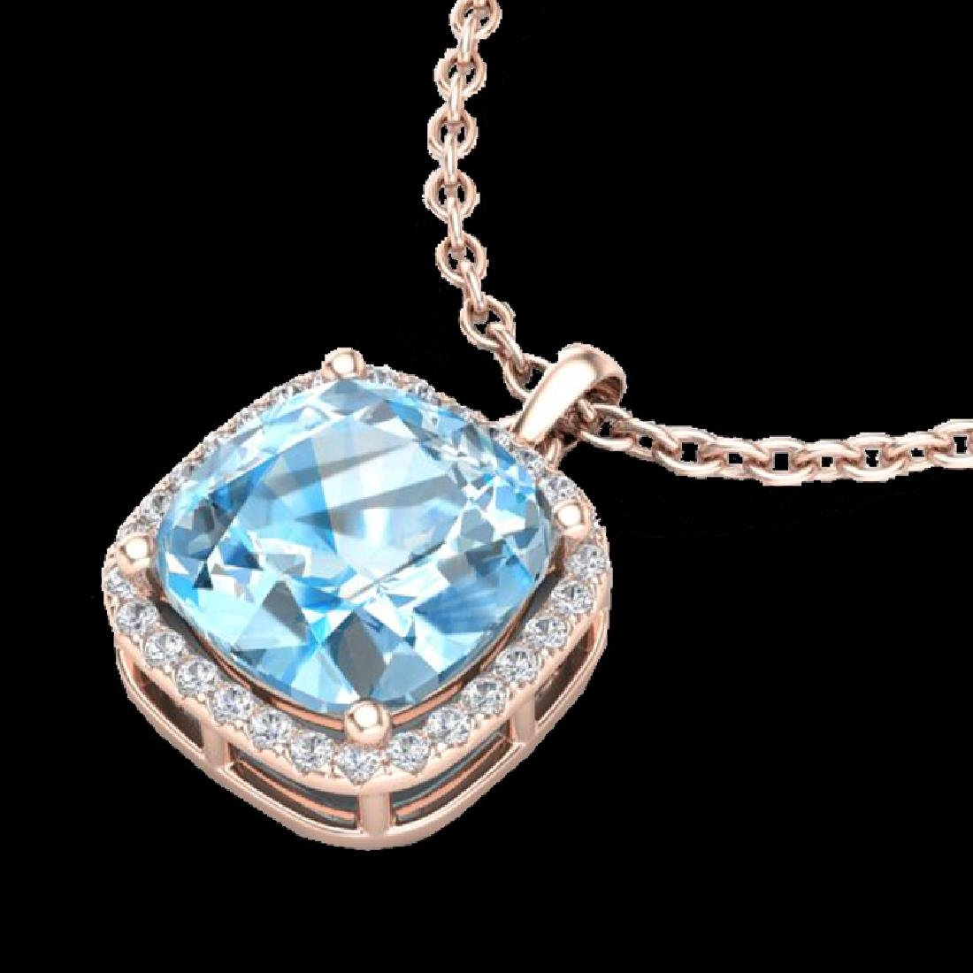 6 CTW Sky Blue Topaz & Pave Halo VS/SI Diamond Necklace