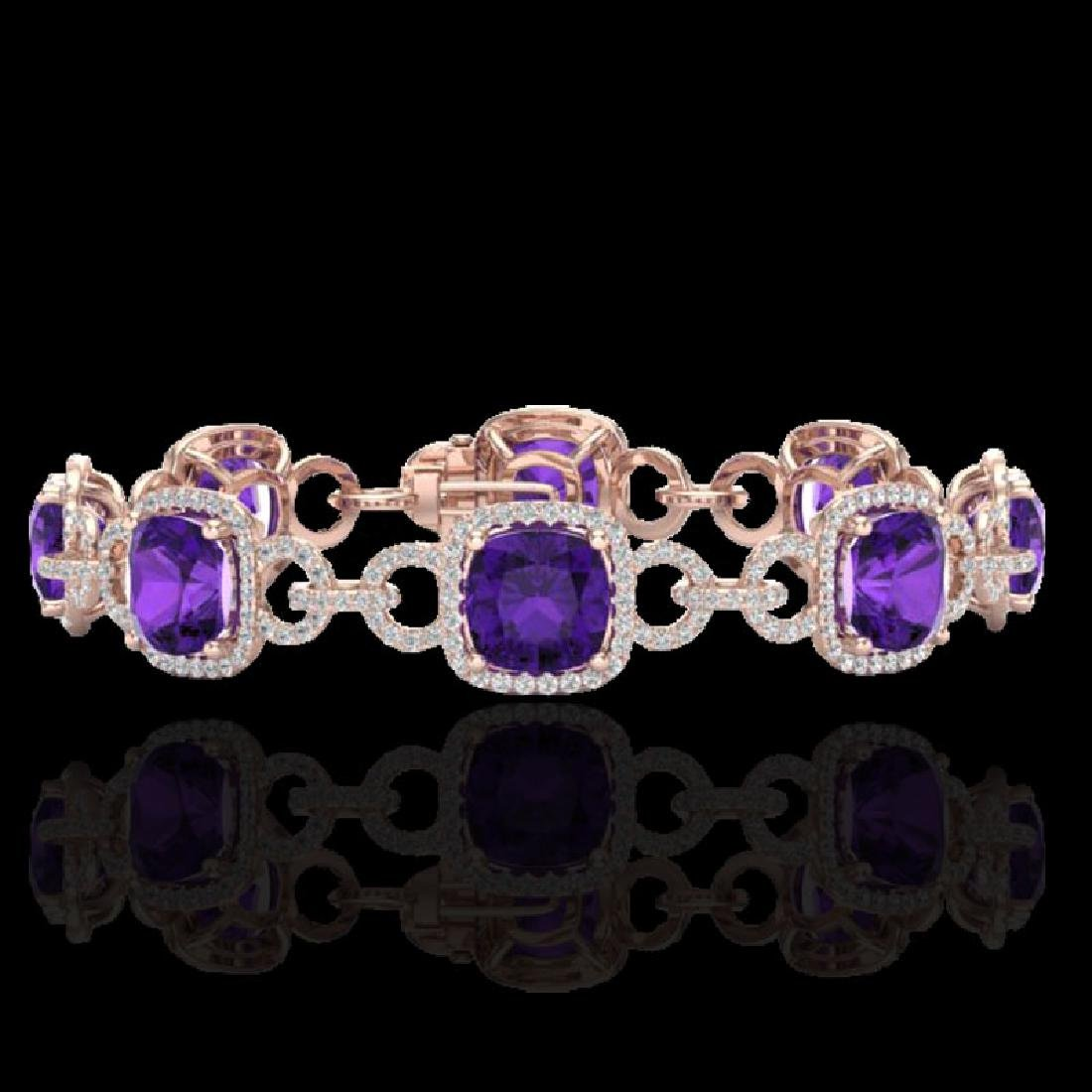 30 CTW Amethyst & Micro VS/SI Diamond Bracelet 14K Rose