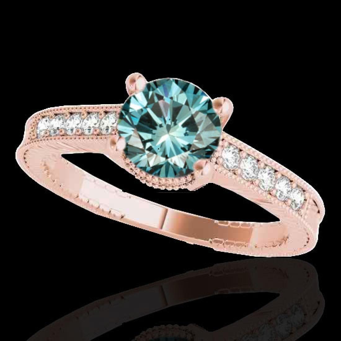 1.45 CTW SI Certified Blue Diamond Solitaire Antique