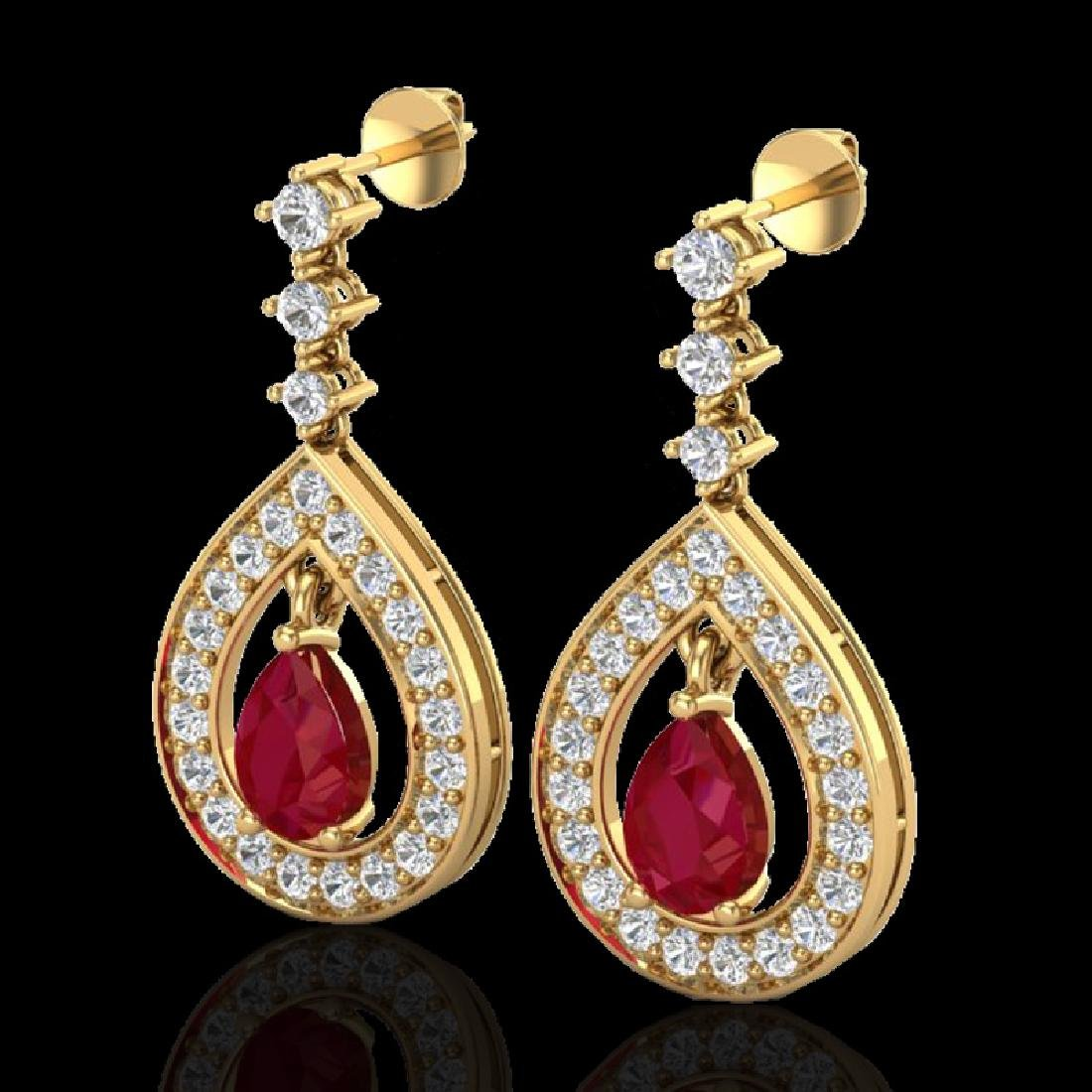 2.25 CTW Ruby & Micro Pave VS/SI Diamond Earrings