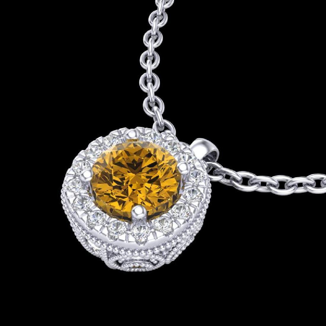 1.1 CTW Intense Fancy Yellow Diamond Art Deco Stud - 2