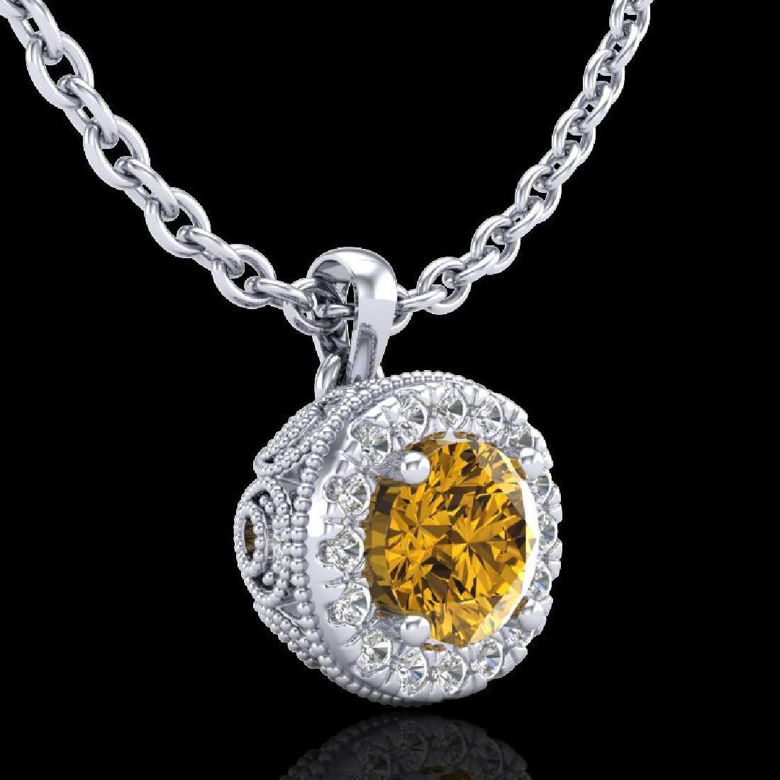 1.1 CTW Intense Fancy Yellow Diamond Art Deco Stud - 3