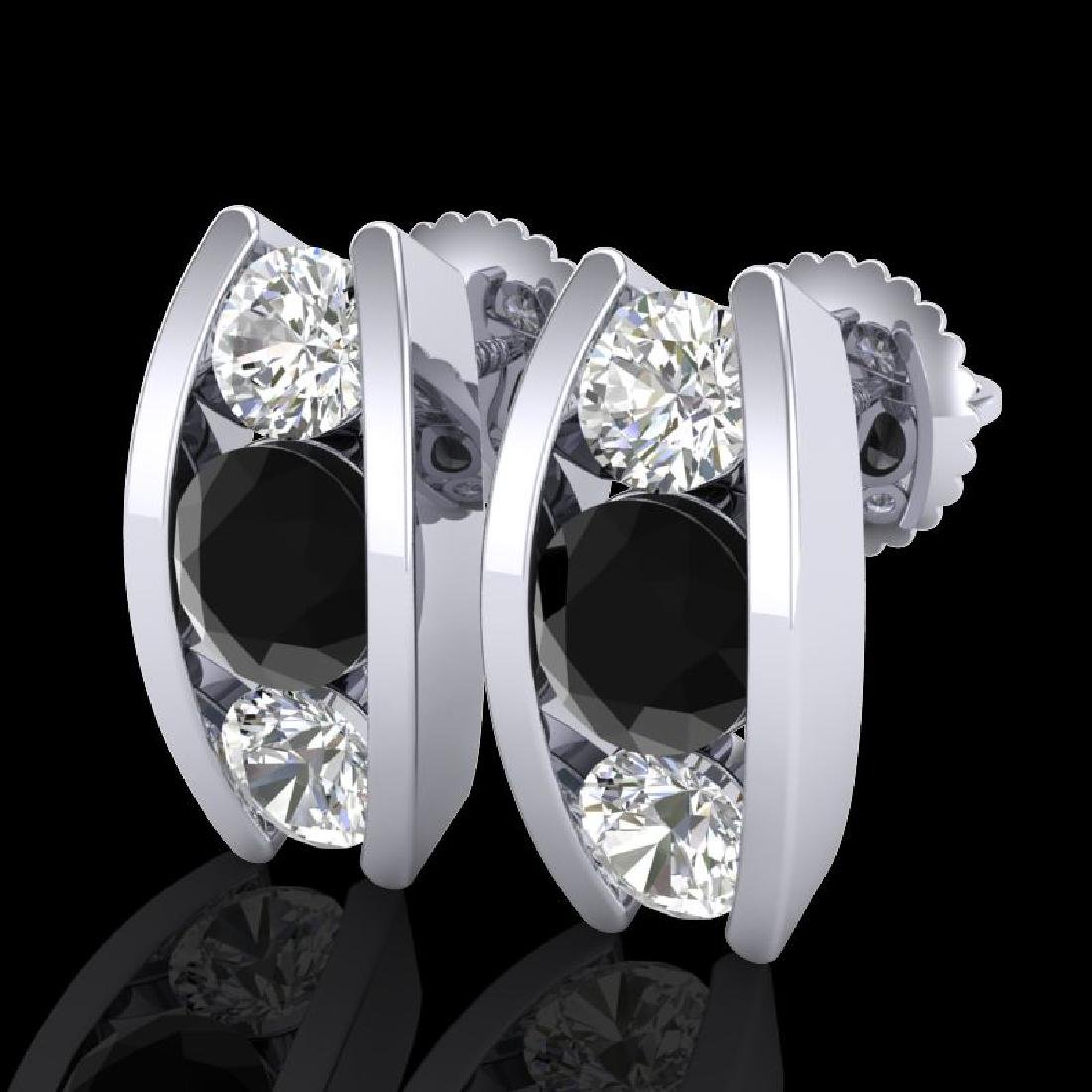2.18 CTW Fancy Black Diamond Solitaire Art Deco Stud