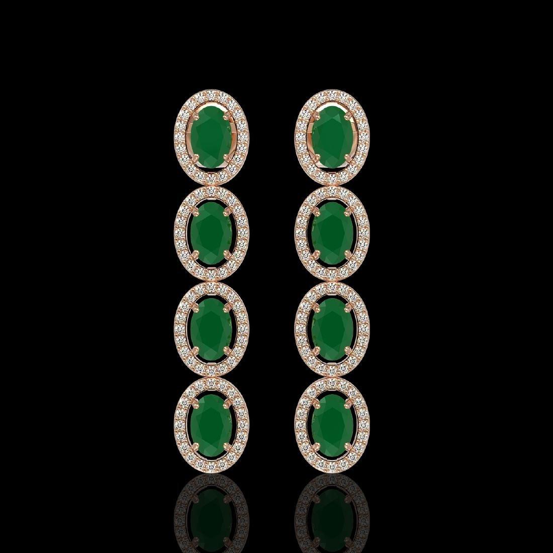 6.47 CTW Emerald & Diamond Halo Earrings 10K Rose Gold