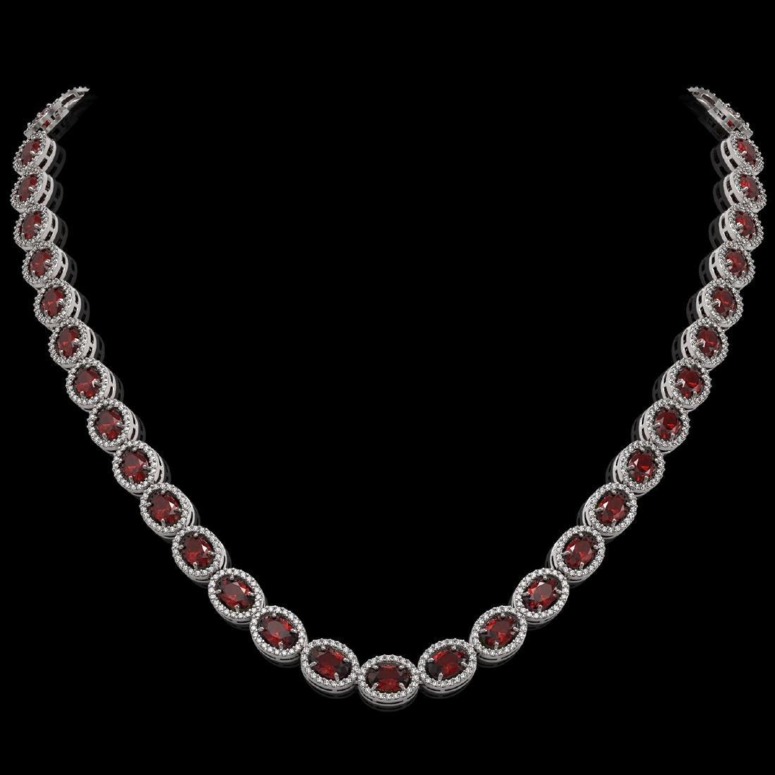 32.82 CTW Garnet & Diamond Halo Necklace 10K White Gold