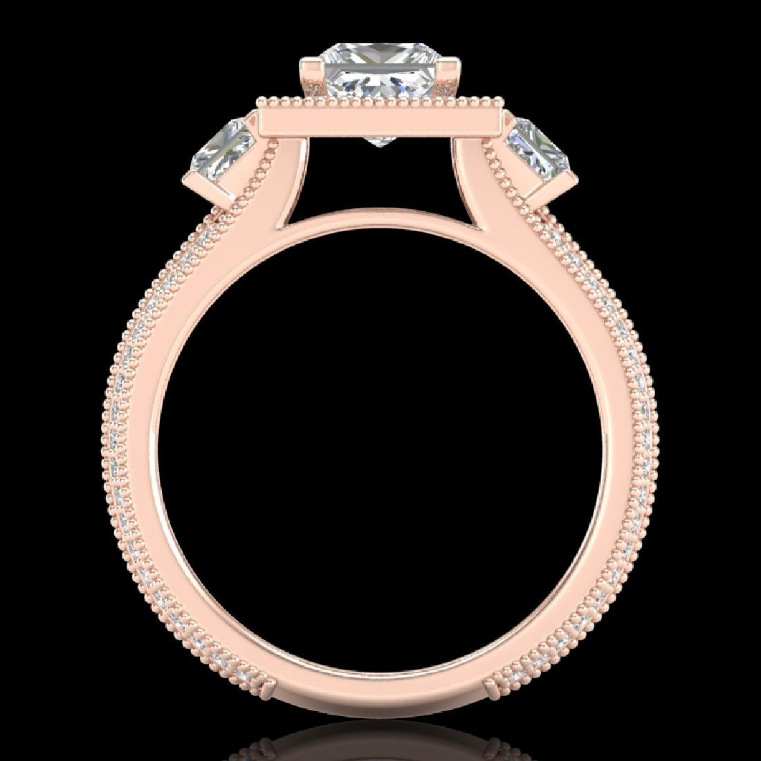 2.5 CTW Princess VS/SI Diamond Micro Pave 3 Stone Ring