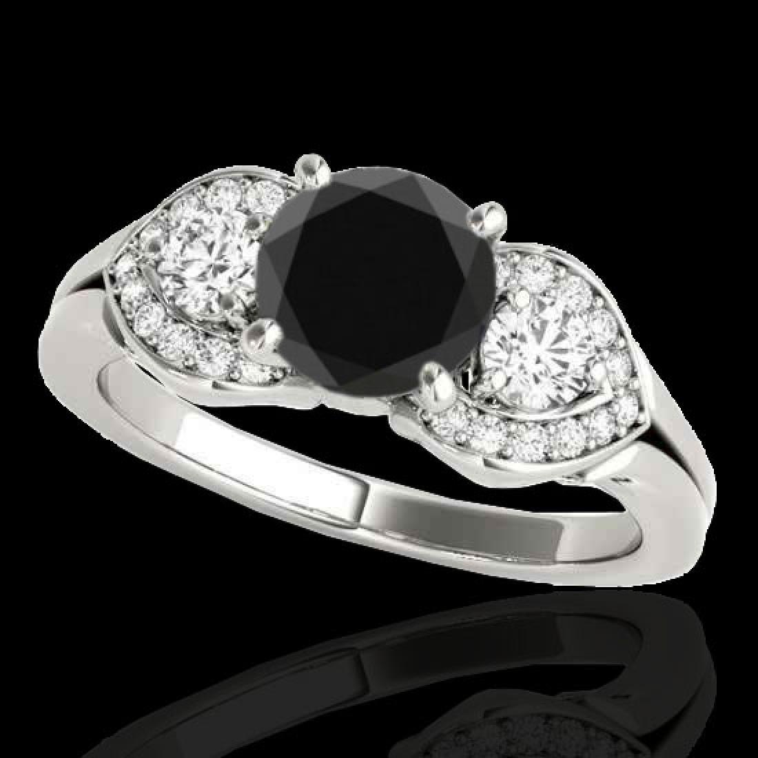 1.45 CTW Certified VS Black Diamond 3 Stone Ring 10K
