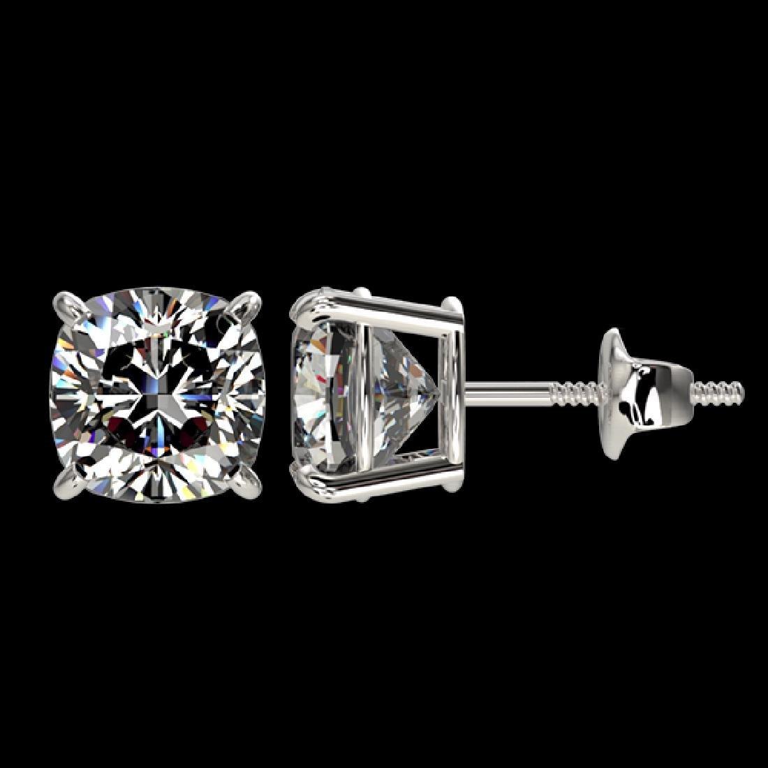 2 CTW Certified VS/SI Quality Cushion Cut Diamond Stud - 2