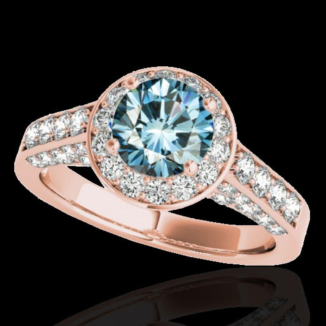 2.56 CTW SI Certified Fancy Blue Diamond Solitaire Halo