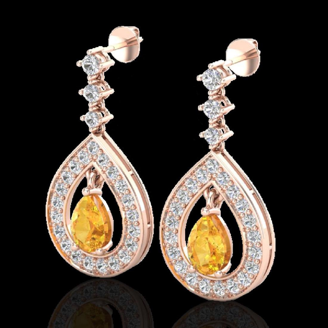 2.25 CTW Citrine & Micro Pave VS/SI Diamond Earrings