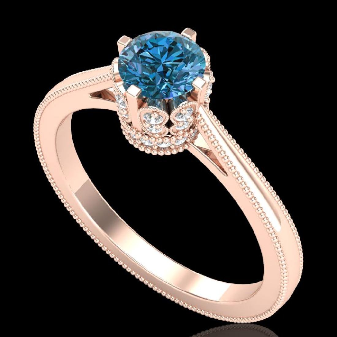 0.81 CTW Fancy Intense Blue Diamond Solitaire Art Deco