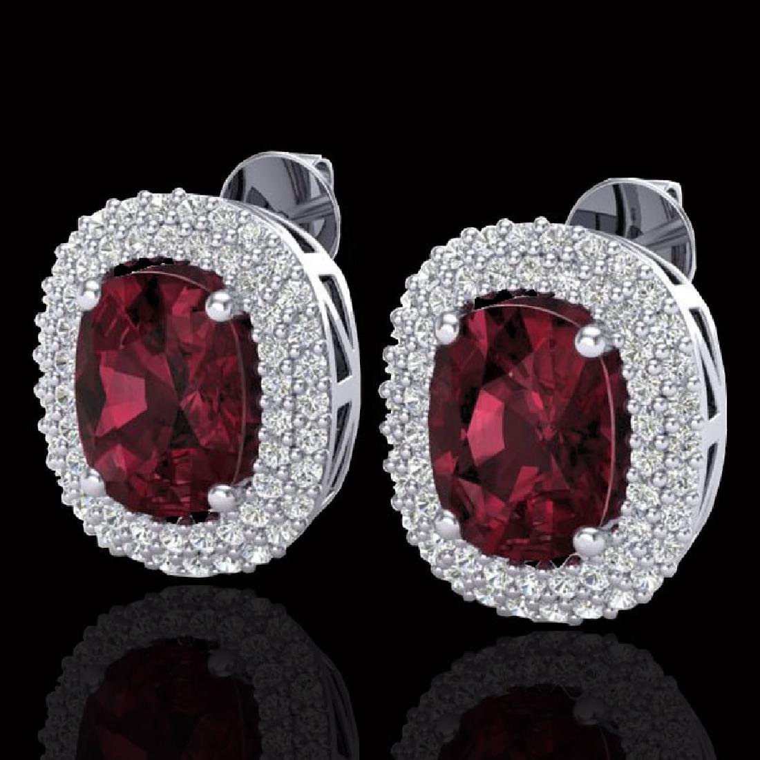 5.20 CTW Garnet & Micro Pave VS/SI Diamond Halo