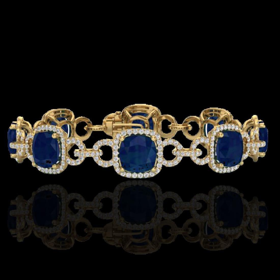 25 CTW Sapphire & Micro VS/SI Diamond Bracelet 14K