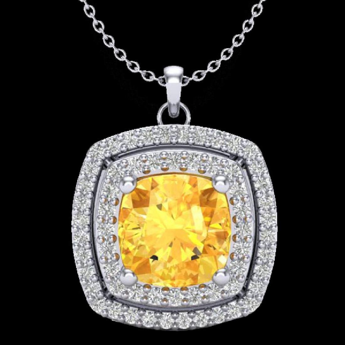 1.77 CTW Citrine & Micro Pave VS/SI Diamond Halo