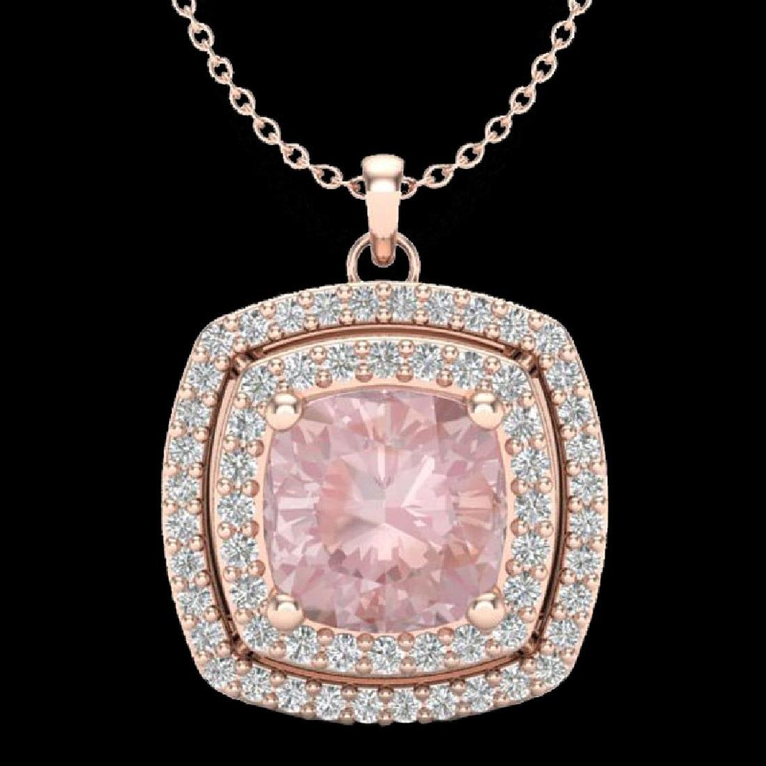 1.97 CTW Morganite & Micro VS/SI Diamond Halo Necklace