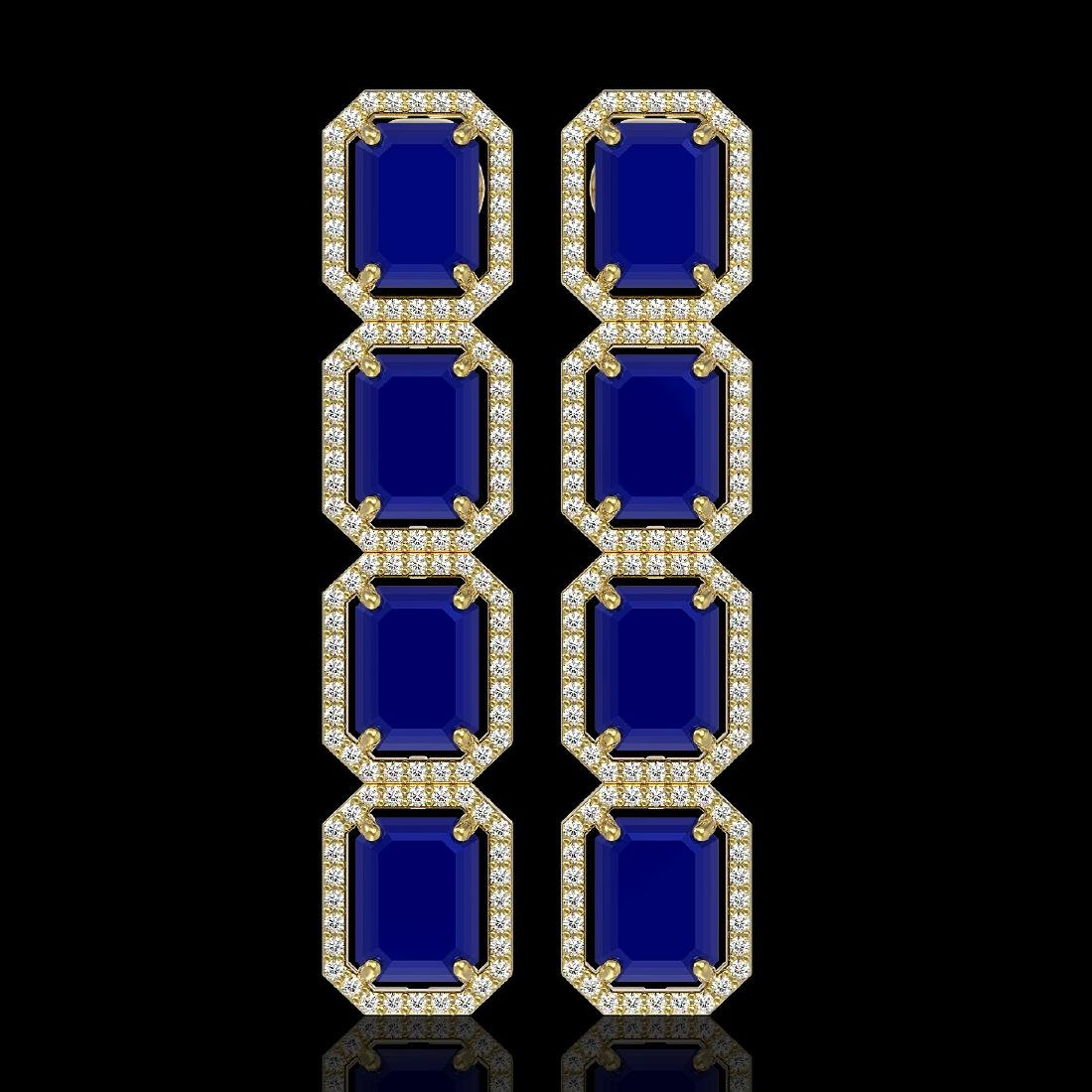 20.59 CTW Sapphire & Diamond Halo Earrings 10K Yellow