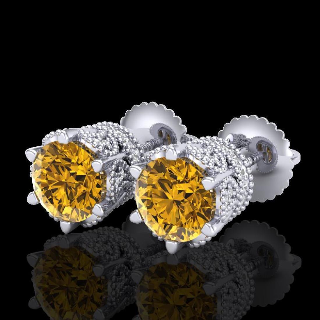 2.04 CTW Intense Fancy Yellow Diamond Art Deco Stud