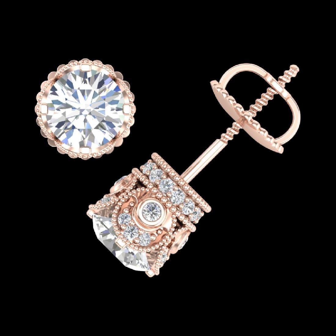 1.85 CTW VS/SI Diamond Solitaire Art Deco Stud Earrings