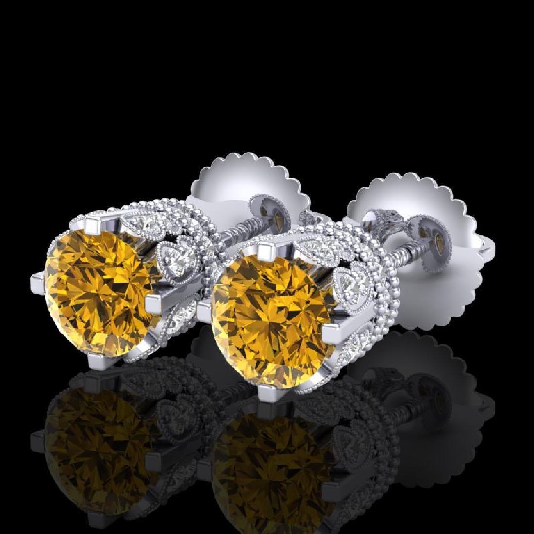 3 CTW Intense Fancy Yellow Diamond Art Deco Stud