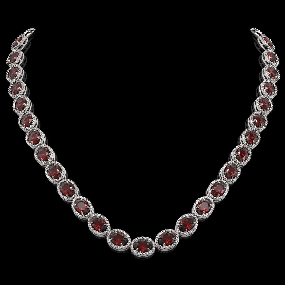 50.08 CTW Garnet & Diamond Halo Necklace 10K White Gold