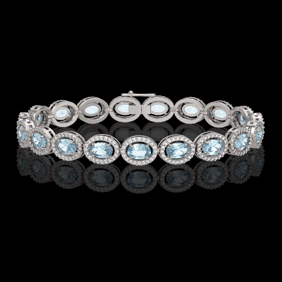 11.02 CTW Aquamarine & Diamond Halo Bracelet 10K White