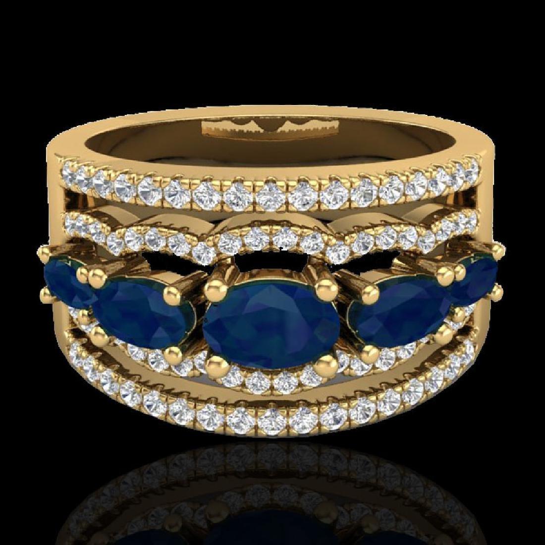 2.25 CTW Sapphire & Micro Pave VS/SI Diamond Designer