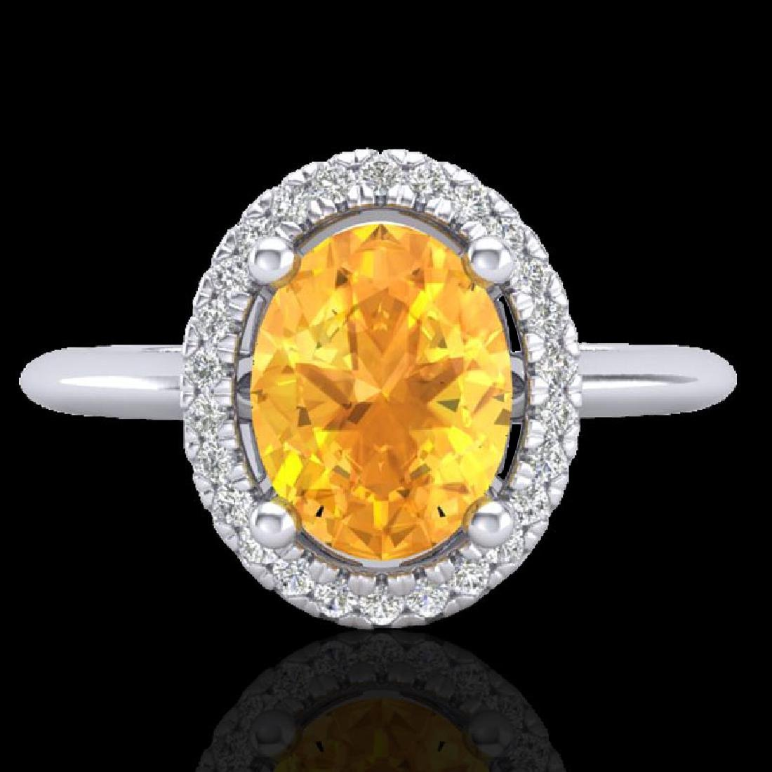 1.75 CTW Citrine & Micro VS/SI Diamond Ring Solitaire