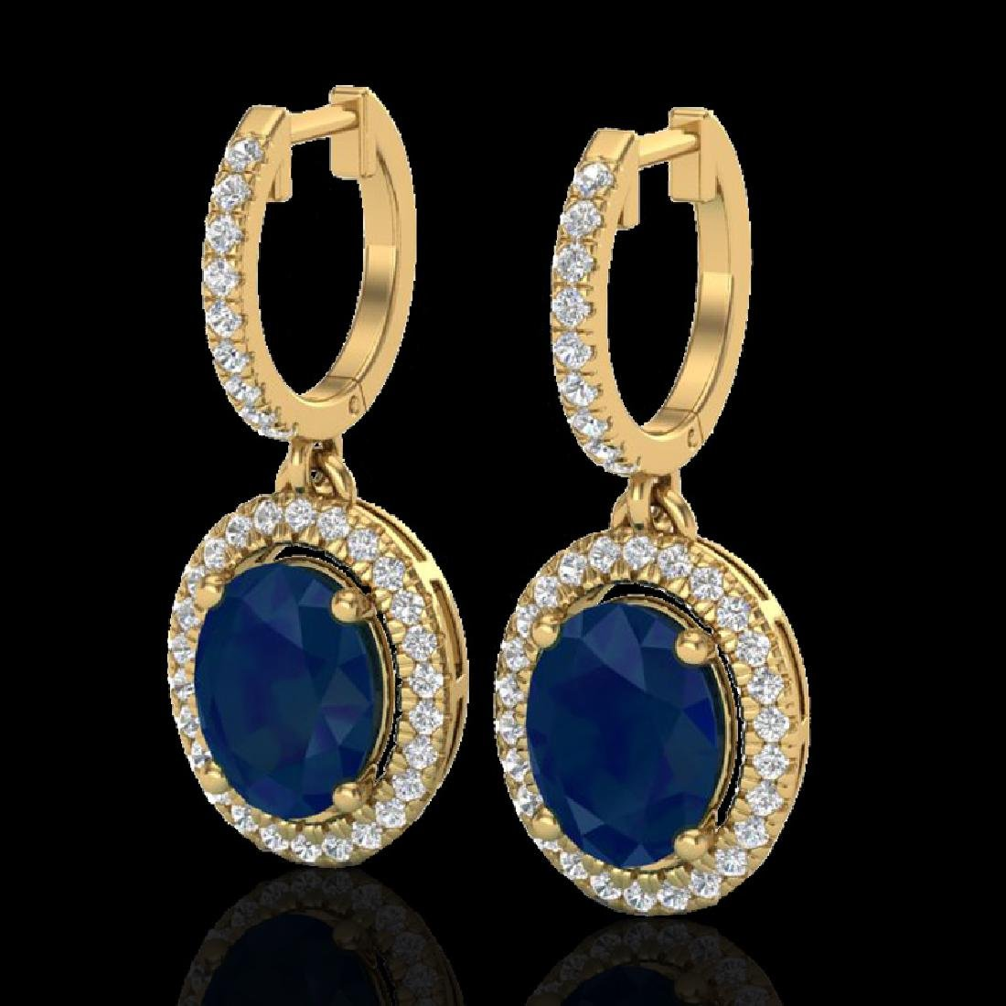 4.25 CTW Sapphire & Micro Pave VS/SI Diamond Earrings