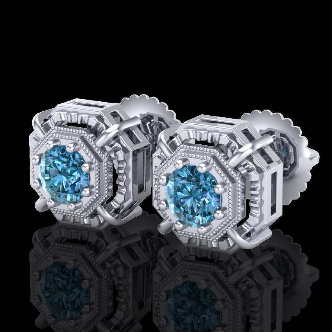 1.11 CTW Fancy Intense Blue Diamond Art Deco Stud