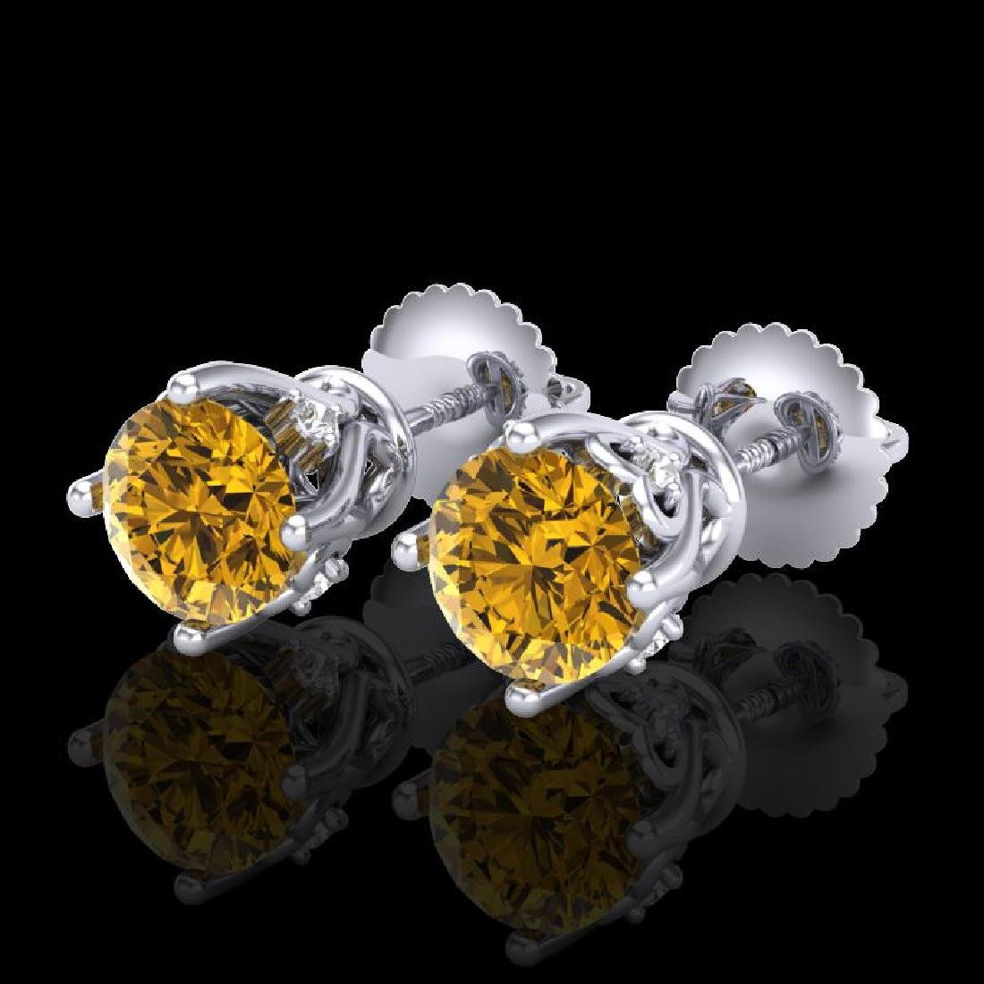 1.26 CTW Intense Fancy Yellow Diamond Art Deco Stud