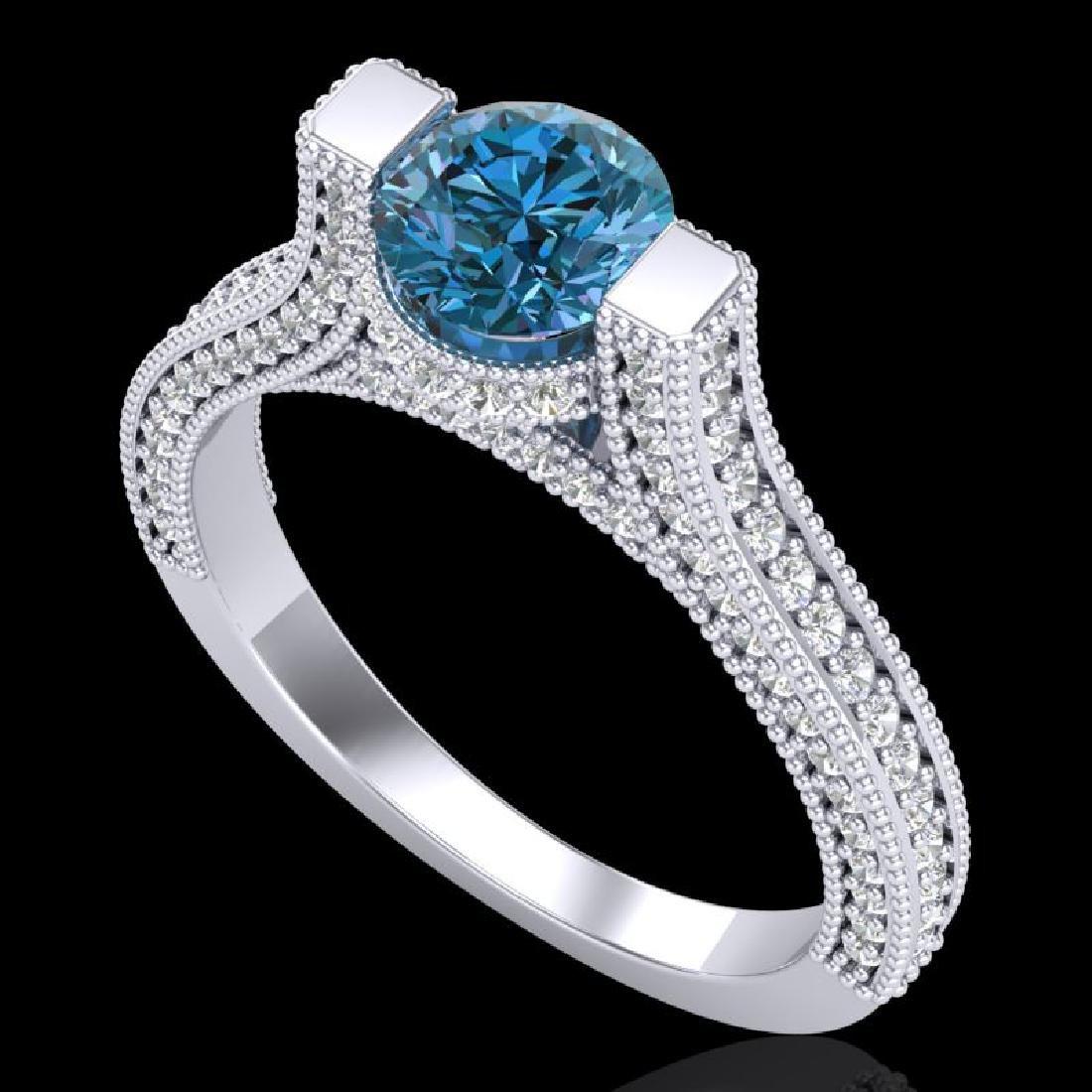 2 CTW Fancy Intense Blue Diamond Engagement Micro Pave