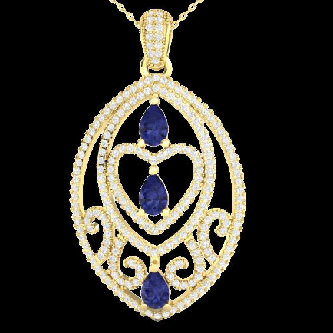 3.50 CTW Tanzanite & Micro VS/SI Diamond Heart Necklace
