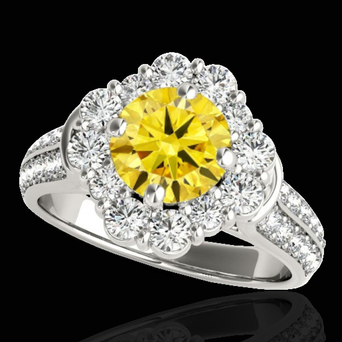 2.16 CTW Certified SI/I Fancy Intense Yellow Diamond