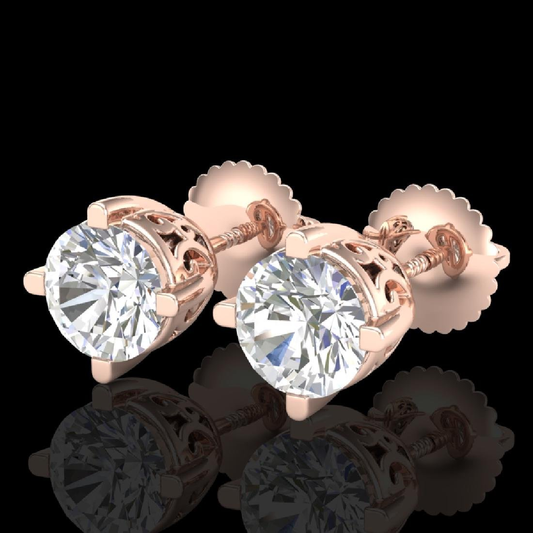 1.5 CTW VS/SI Diamond Solitaire Art Deco Stud Earrings