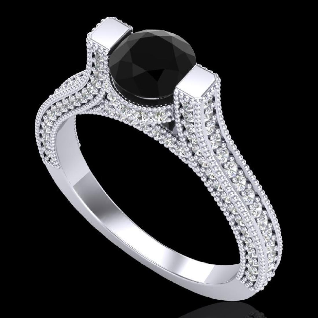 2 CTW Fancy Black Diamond Solitaire Engagement Micro