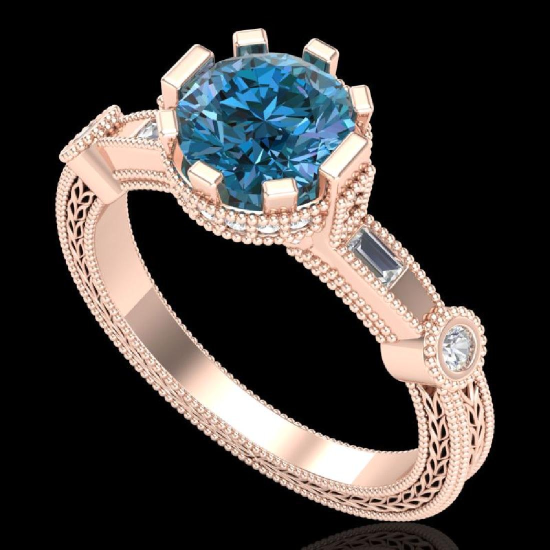 1.71 CTW Fancy Intense Blue Diamond Solitaire Art Deco