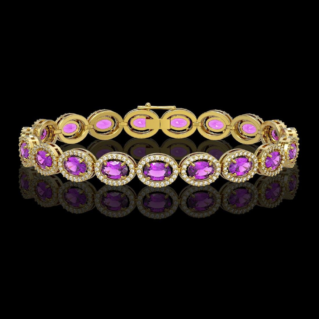 13.11 CTW Amethyst & Diamond Halo Bracelet 10K Yellow