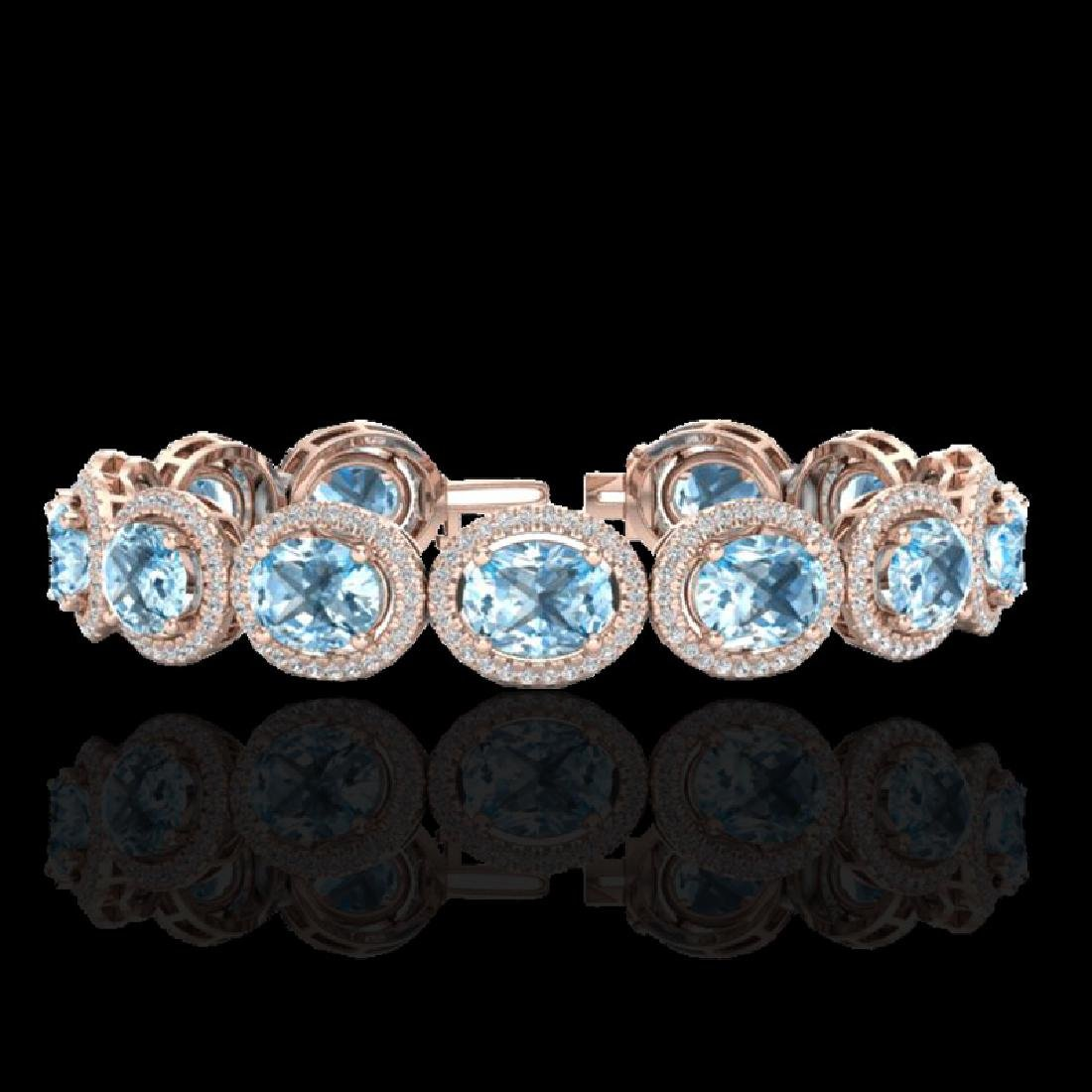 30 CTW Sky Blue Topaz & Micro Pave VS/SI Diamond