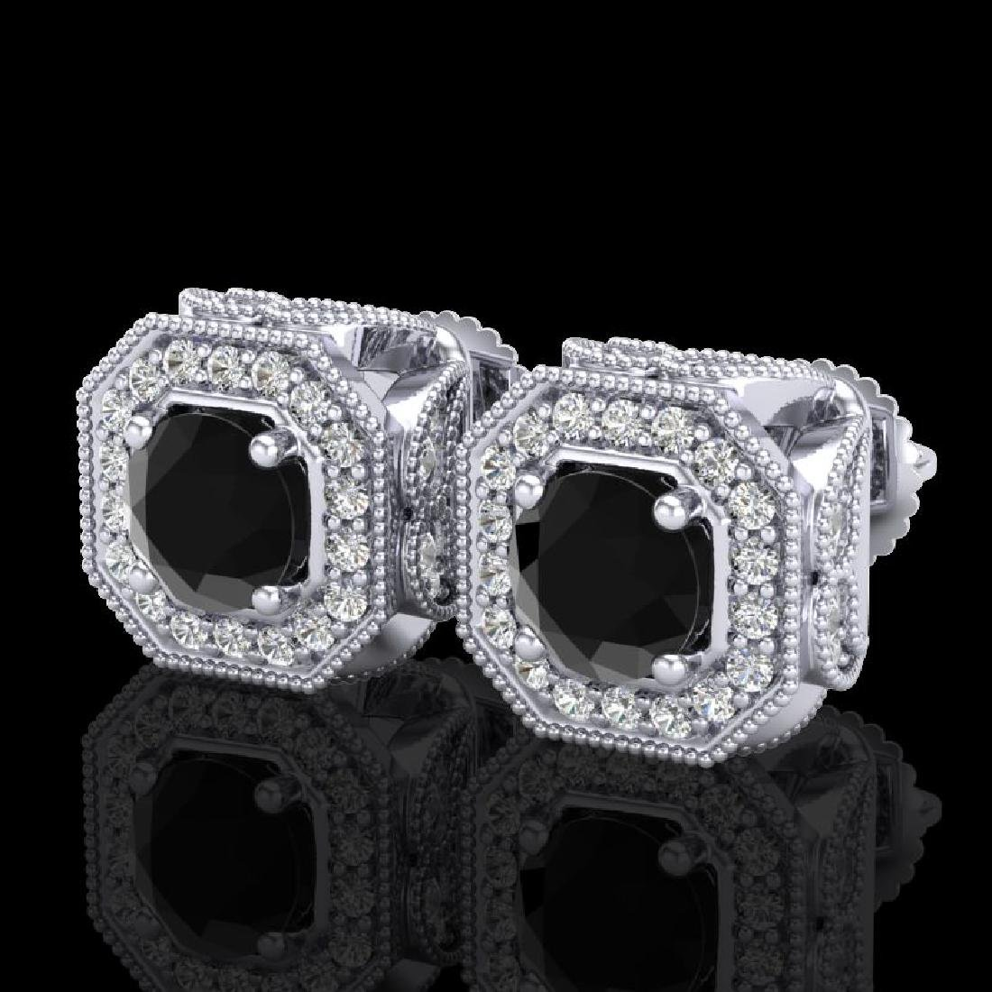 2.75 CTW Fancy Black Diamond Solitaire Art Deco Stud