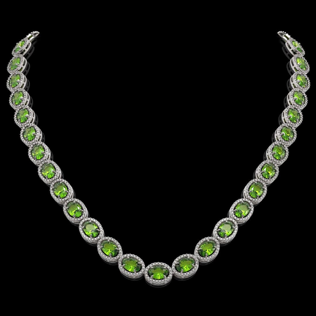48.14 CTW Peridot & Diamond Halo Necklace 10K White