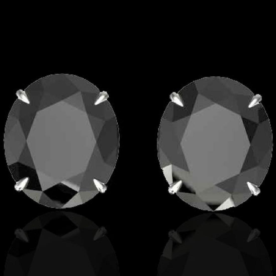 18 CTW Black VS/SI Diamond Designer Stud Earrings 18K